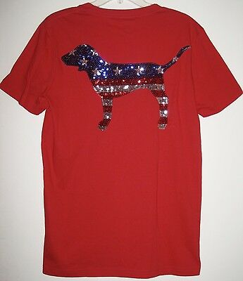 Victoria/'s Secret PINK T Shirt Sequin Bling Tee BLING Dog Small RUN BIG Nwt