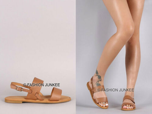 CAMEL BROWN Double Strap SANDALS Flat Shoes Ankle Faux Leather Boho NEW 5.5-10