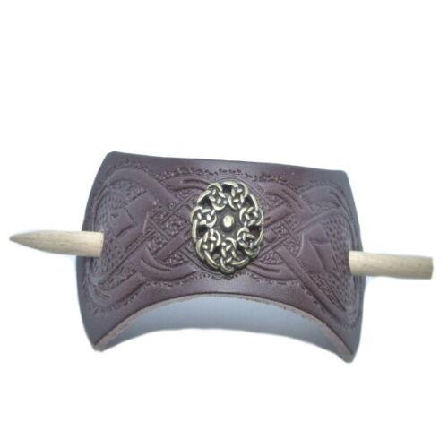 geprägte Leder-Haarspange keltische Haarspange Wikinger Kelten Knoten mit Stab