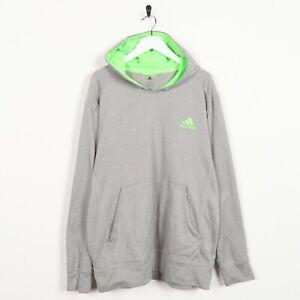 Détails sur Vintage adidas Petit Logo Polyester Capuche Sweat Gris XL
