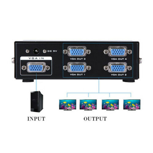250Mhz 1 PC To 4 Port VGA Video Monitor Splitter Box With Power Adapter Mirror