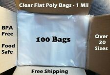 100 Clear Plastic Bags Open Top Lay Flat 1 Mil Large Small 1mil Poly Bolsas