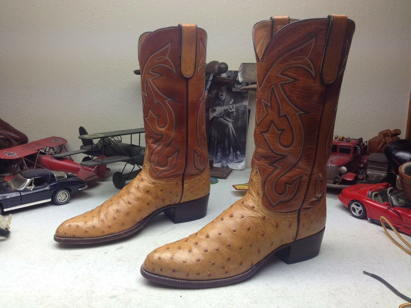 MILTON ALLEN of HOUSTON GOGNAC OSTRICH LEATHER TRAIL BOSS DANCE bottes 10.5 D