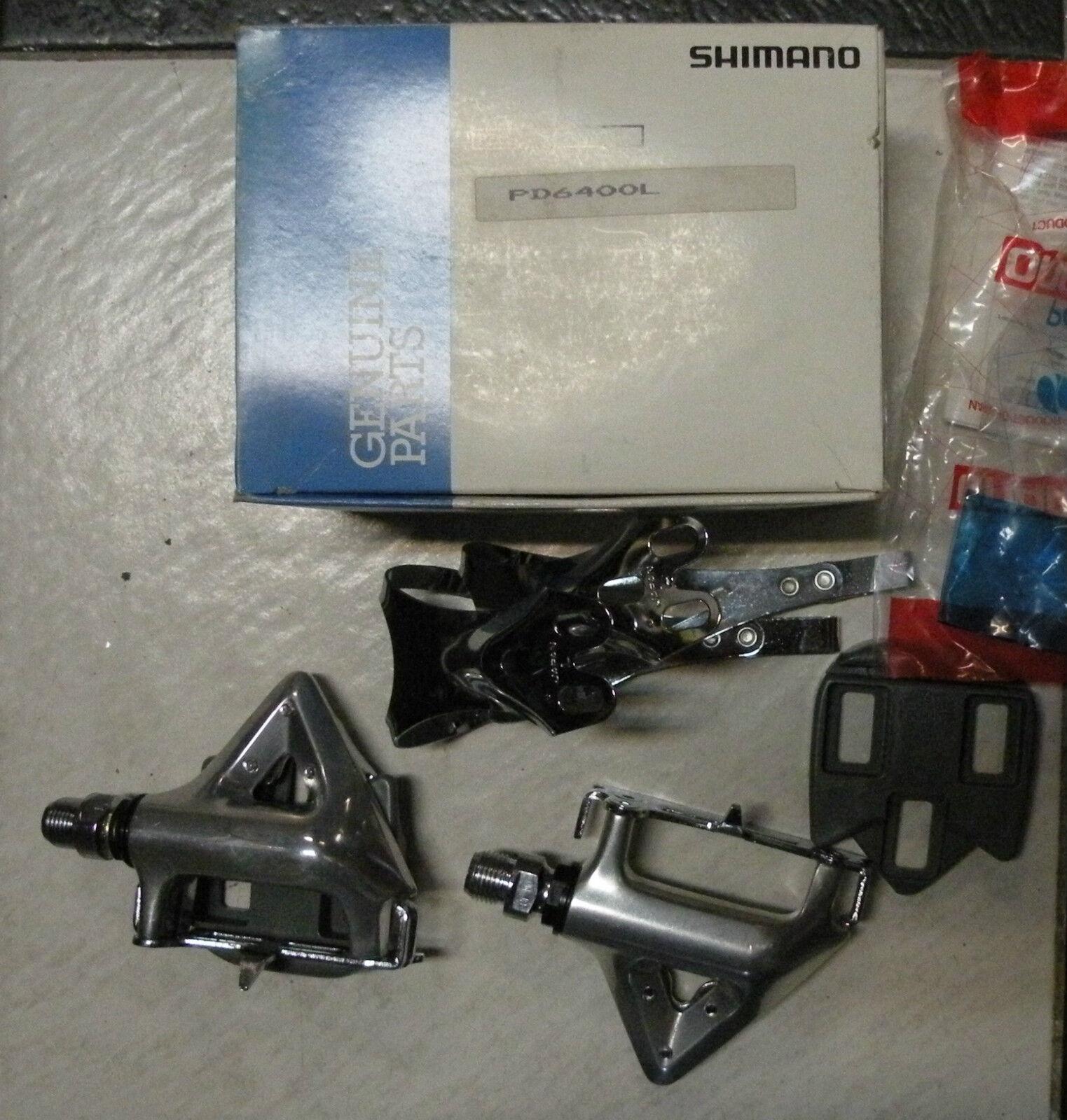 Pedali bici corsa Shimano Ultegra 600 PD-6400 L Toe clips road bike pedals new