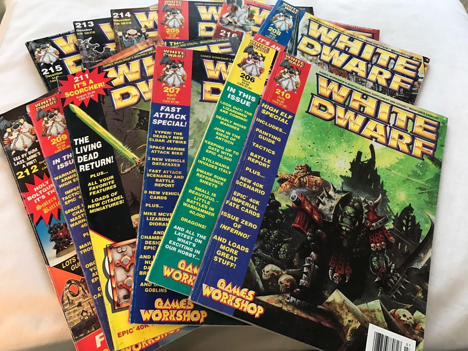 LOT OF 12 GAMES WORKSHOP WHITE DWARF WARHAMMER 40K MAGAZINES ISSUES 205-216 1997