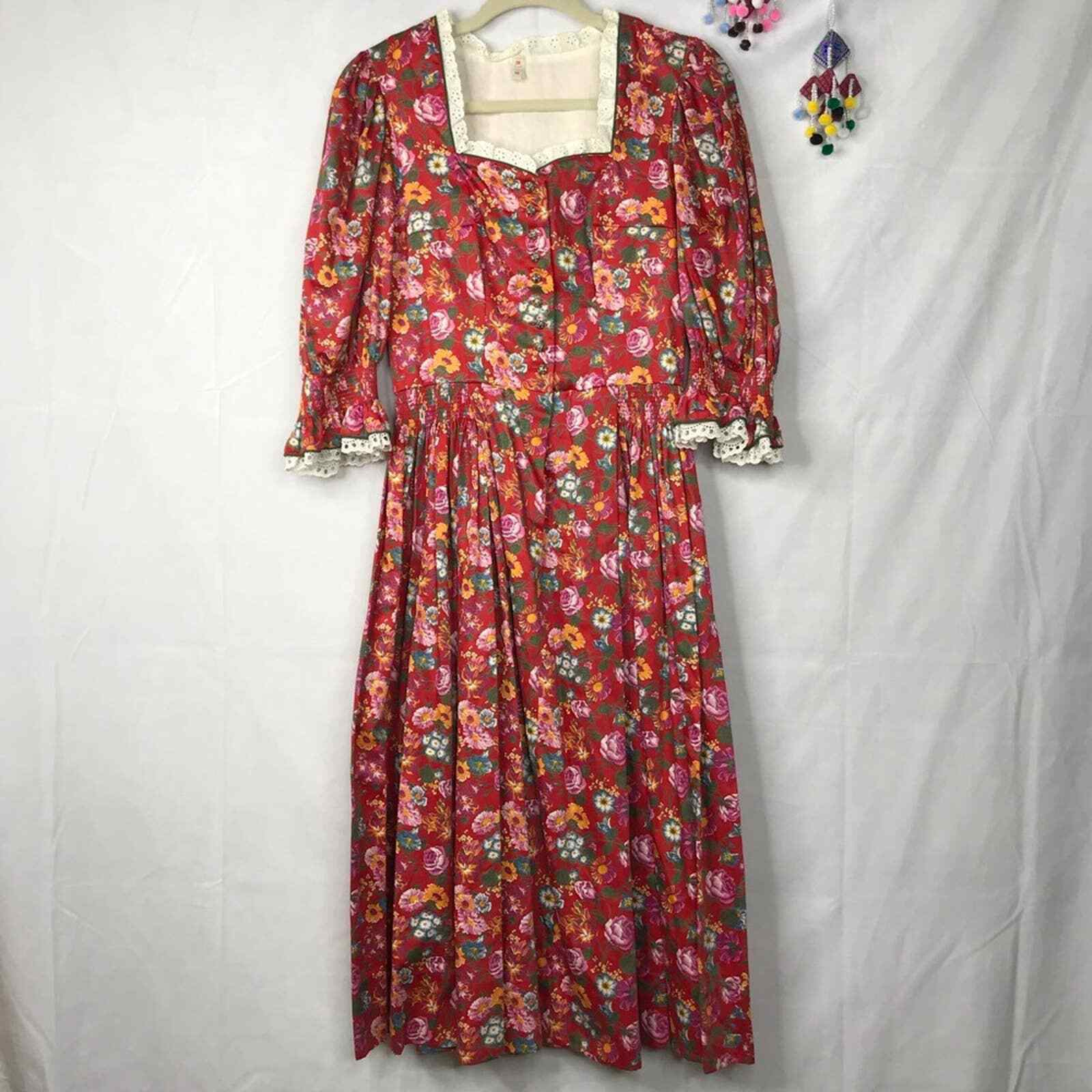 60s Style cottagecore floral prairie pleated dress - image 1