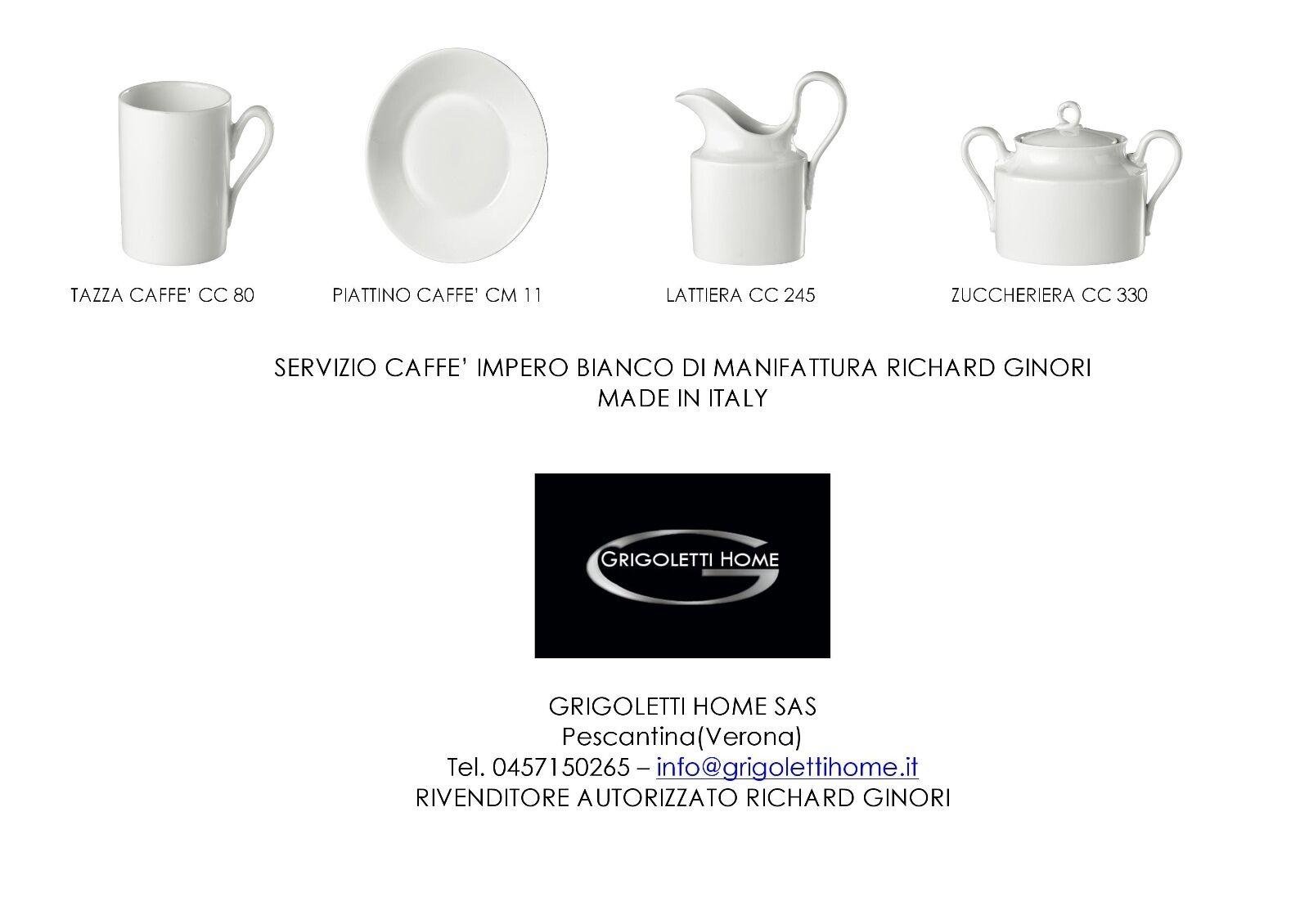 Richard Ginori - Empire Blanc -service café 14 pièces x 12 gens Revendeur