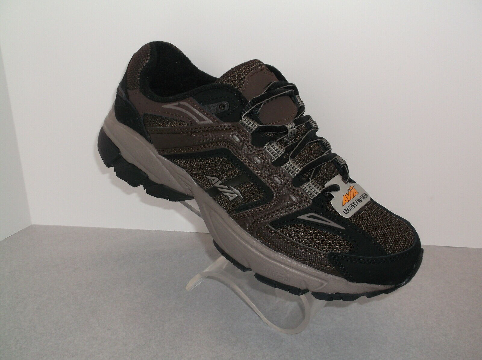 AVIA (JAG) BROWN LEATHER AND MESH MEMORY FOAM MEN'S WALKING SHOE NEW