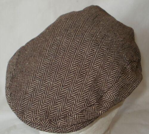 Flat cap LIGHTWEIGHT BROWN HERRINGBONE ONE SIZE 59//60CM