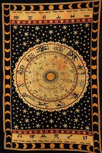 Zodiac-Sun-amp-Moon-Tapestry-Celestial-Wall-Hanging-Psychedelic-Cotton-Throw-Decor