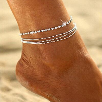 Mode frauen schmuck doppel herz kette strand sandale fußkettchen knöchel ar  Nl