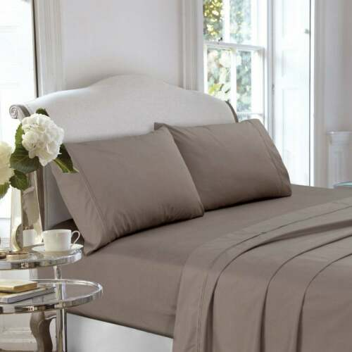 400 Thread Count Cotton Percale Deep Pocket Bed Sheet Set or Taupe Pilllowcase S