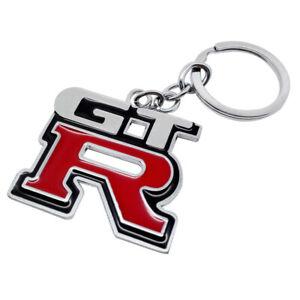 Nissan GT-R Skyline GTR Logo Black Key Chain Fob USA MADE Engraved Silver
