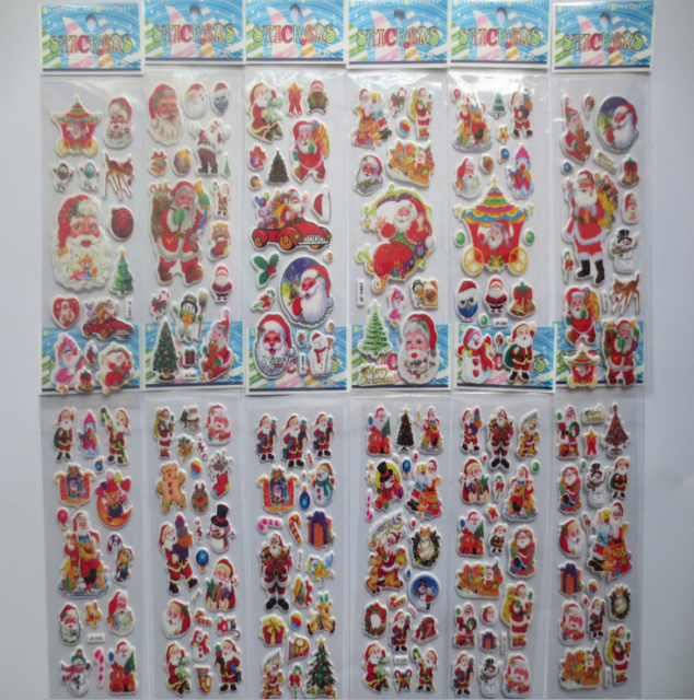 5 sheets Christmas Stickers for Kids Xmas Craft Gift Card-Making Home Decoration