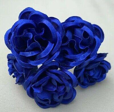 5 Sposa Navy Blue Rose Fiore Per Capelli Pin Grip Clip Fatto A Mano-