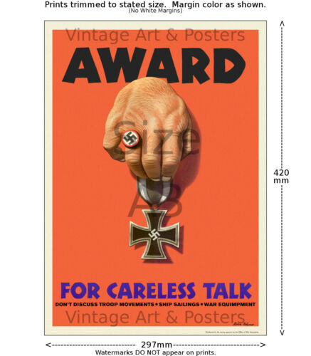 Award for Careless Talk WWII US Propaganda Poster 4 sizes, matte+glossy avail