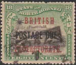 NORTH-BORNEO-1902-BP-POSTAGE-DUE-18c-MT-KINABALU-USED-CAT-RM-70