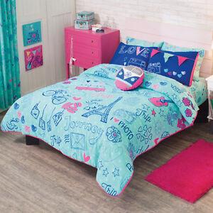 new girls tees aqua blue pink eiffel tower love paris comforter bedding set ebay. Black Bedroom Furniture Sets. Home Design Ideas