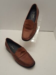 Cole-Haan-Women-039-s-Brown-Leather-Slip-On-Penny-Loafers-Size-7-B-Tan-Flat