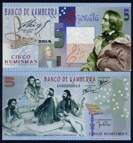 2014 UNC Franz Liszt Kamberra Kingdom 5 Numismas