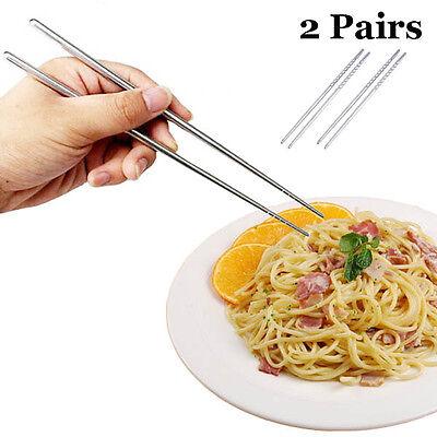 2 Pairs Fashion Non-slip Stainless Steel Chopsticks Chop Sticks Silver