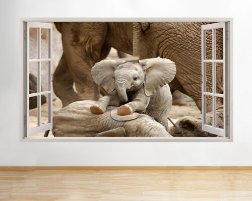 H253 Baby Elephant Playing Funny Window Wall Decal 3D Art Stickers Vinyl Room