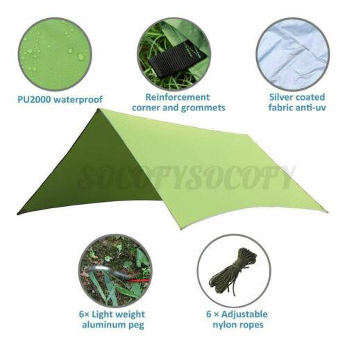 3x3M Waterproof Camping Tent Tarp Shelter Hammock Cover Lightweight Rain Fly