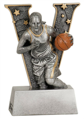 "6"" V Series Resin Basketball Female Trophy JDSV803"