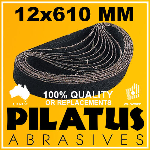 10 PACK - 12x610MM SANDING BELT 180 GRIT - SILICON CARBIDE FOR GLASS LINISHING