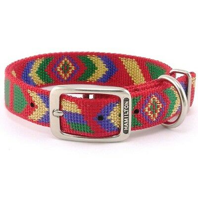 "Hamilton 18"" x 1"" DT Nylon Dog Collar w/ Southwest Pattern, Red"
