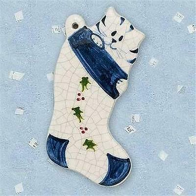 Brick Pond Handworks Handcrafted and Painted Kitten In Stocking Ornament