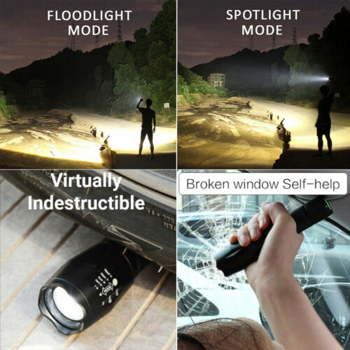 60000LM T6 LED Flashlight Zoomable 5modes Tactical Torch Light 18650 or AAA