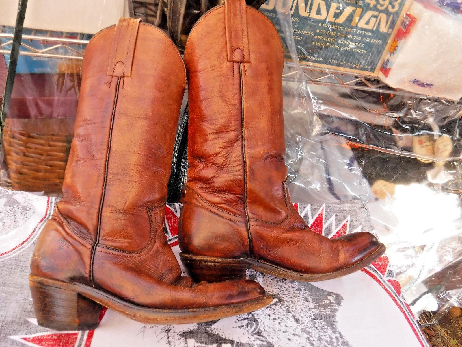 Vtg FRYE Brown Pelle Cowboy Stivali Style 2300 Size 7 D western USA made