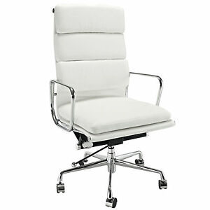 Details about Eames Office Chair Soft Padded High Back Reproduction  Aluminium Leather White