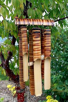 GRANDE in bambù CAMPANELLI EOLICI 6 Tubi-GIARDINO tranquillo Feng Shui