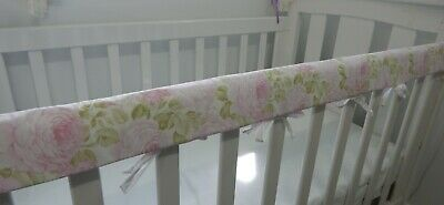 Cot Rail Cover Floral  Butterflies Roses Pink Crib Teething Pad  x 1
