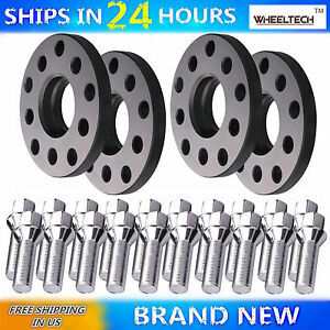 4) 15mm 5x100 5x112 57.1 CB M14x1.5 Cone Bolts For Audi Hubcentric Wheel Spacers 600682419109