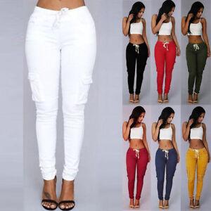 Women-Pants-Stretch-Pencil-Trousers-High-Waist-Skinny-Jeggings-Longs-Leggings