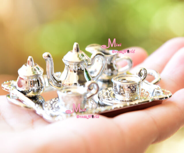 SILVER METAL Dinnerware Coffee Cup Plate SET 1:12 Dollhouse Miniature QUALITY