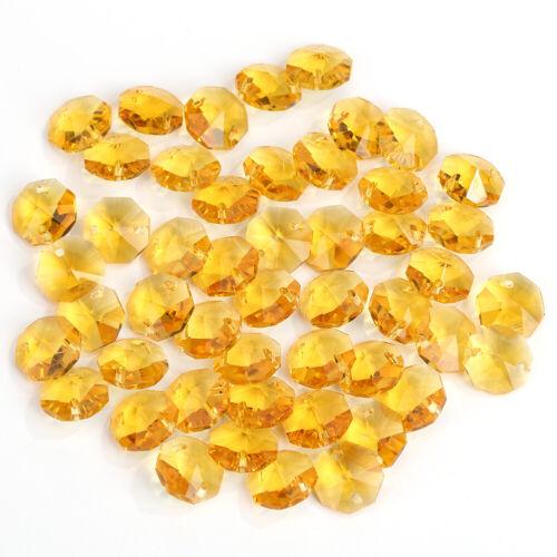 14mm Crystal Glass Diamond Octagonal Beads Wedding Decor Home Ornaments