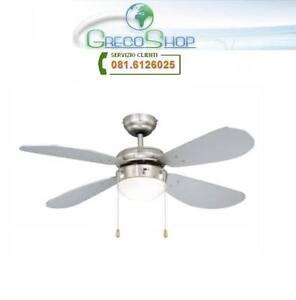Agitatore//Ventilatore da soffitto con 4 pale in legno finitura Silver 1 lampada