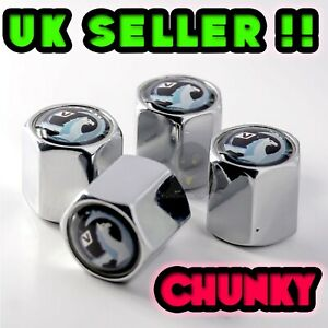 4 x Chrome Vauxhall Tyre Valve Dust Caps Insignia Astra Corsa Alloy Wheel New