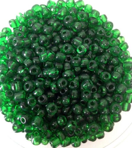 size 6//0 50g glass seed beads approx 4mm Green Transparent