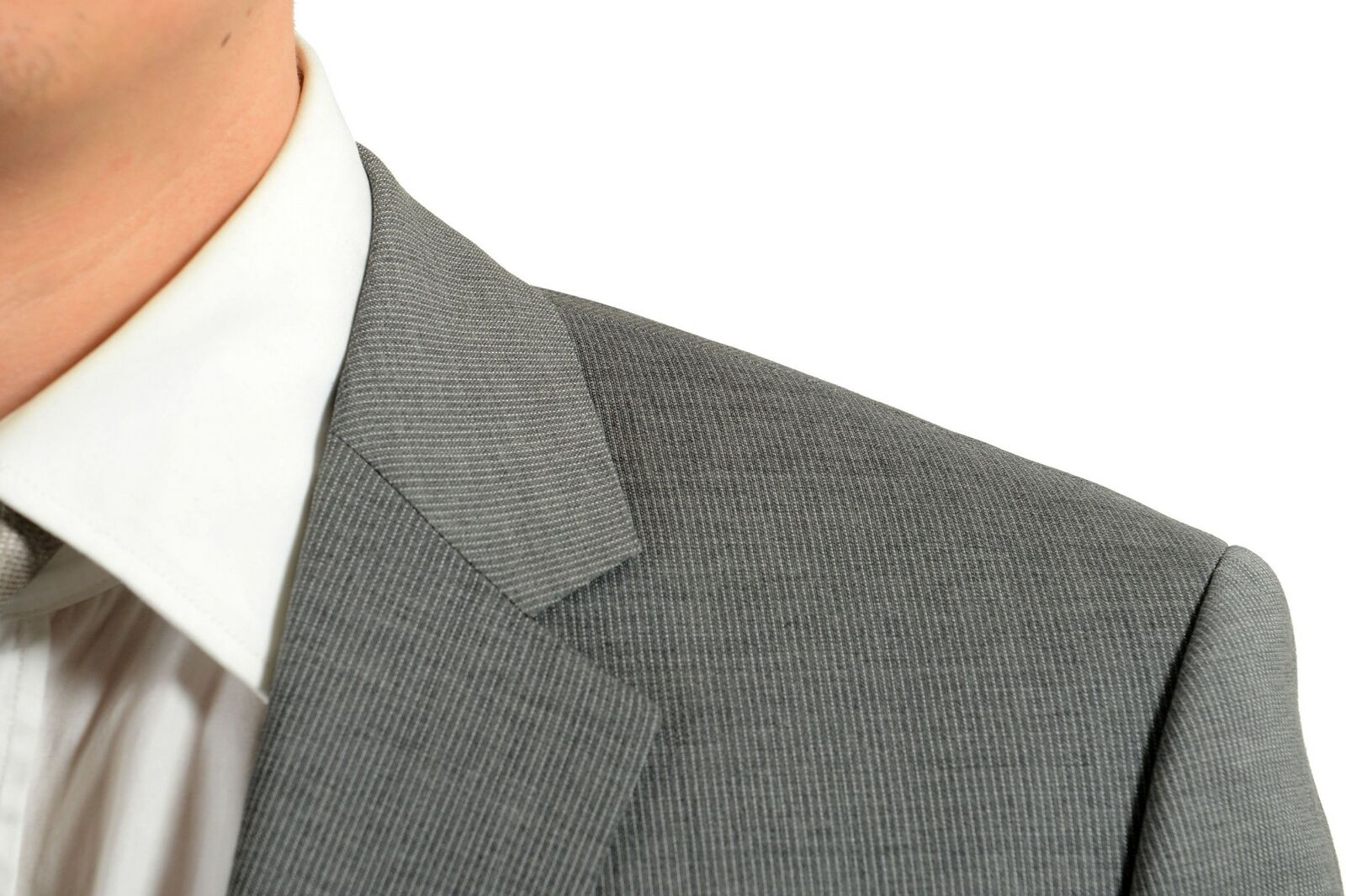 Hugo Boss     Thegrand1 Central1us   Herren 100%Wolle Grau Gestreift Zwei Knopfen 73bfd5