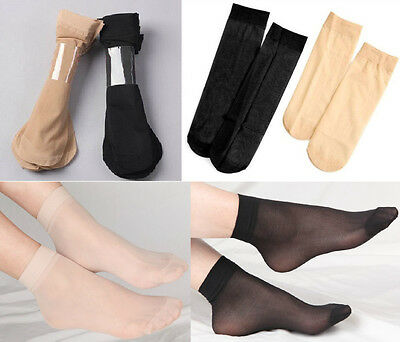 10 Pairs Women's Medias Silk Stockings Ankle Socks Hosiery Nude Black Color Pick