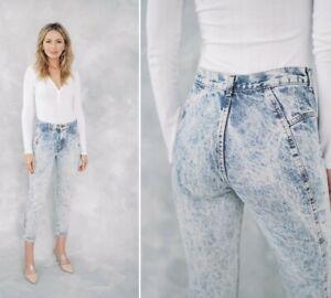 Vintage High Waist Acid Wash tapered Denim PantsJeans from 1980/'sW28