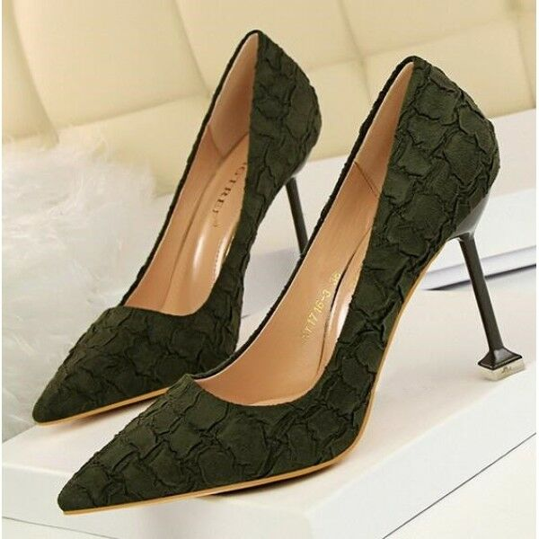 court schuhe Damens's schuhe green élégant stiletto 9.5 cm pin like Leder 8306