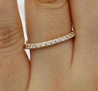 14k Real Yellow Gold Round Cz Wedding Anniversary Ring Band