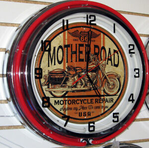 Route-66-Motorcycle-Harley-Mother-Road-Sign-Large-Neon-Clock