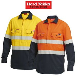 Mens-Hard-Yakka-FR-ShieldTec-Hi-Vis-Safety-Mining-Energy-Gas-Work-Shirt-Y04550